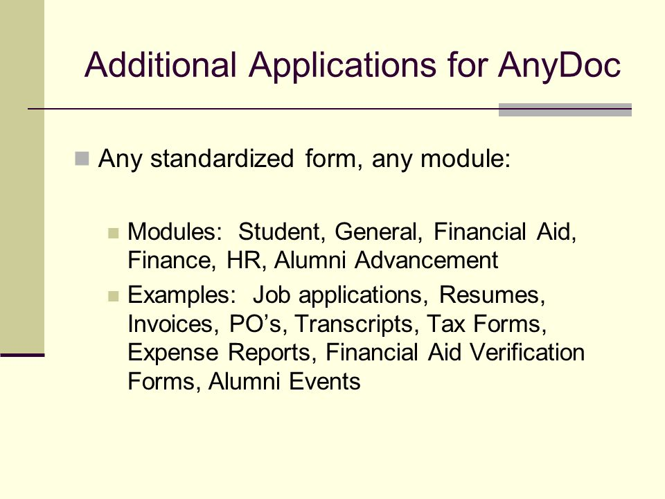 Additional Applications for AnyDoc