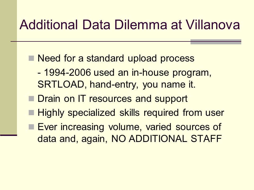 Additional Data Dilemma at Villanova