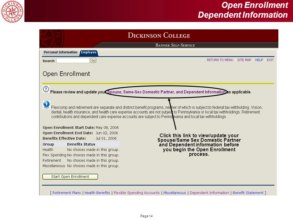 Open Enrollment Dependent Information