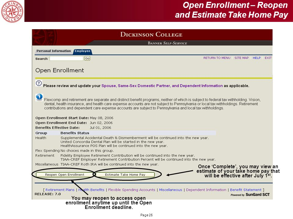 Open Enrollment – Reopen and Estimate Take Home Pay