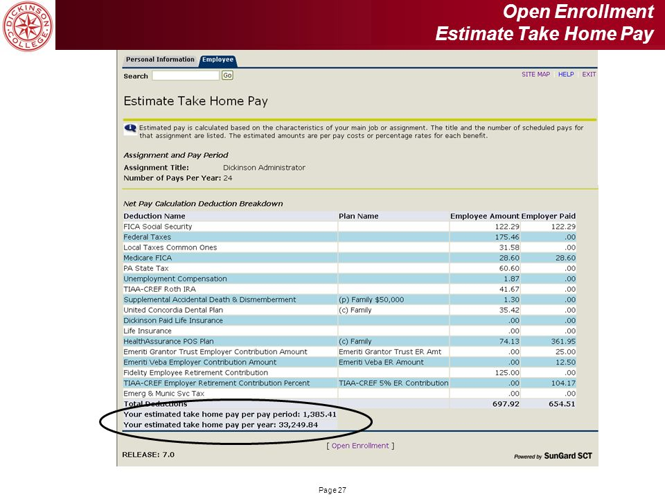Open Enrollment Estimate Take Home Pay