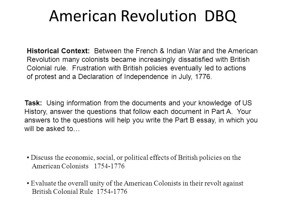 Dbq essay on the causes of the american revolution