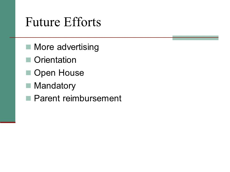Future Efforts More advertising Orientation Open House Mandatory