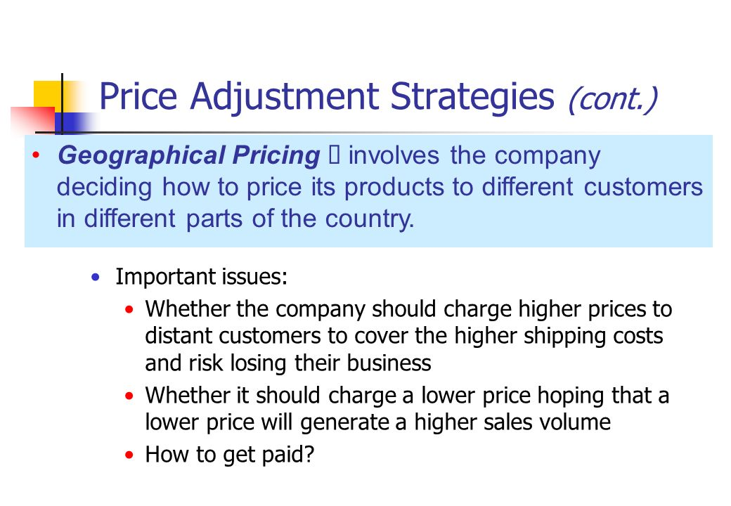 price adjustment strategies Study 101 test 3 chapter 11 test flashcards from dean s on  which of the following price adjustment strategies offers a price reduction to buyers who pay.