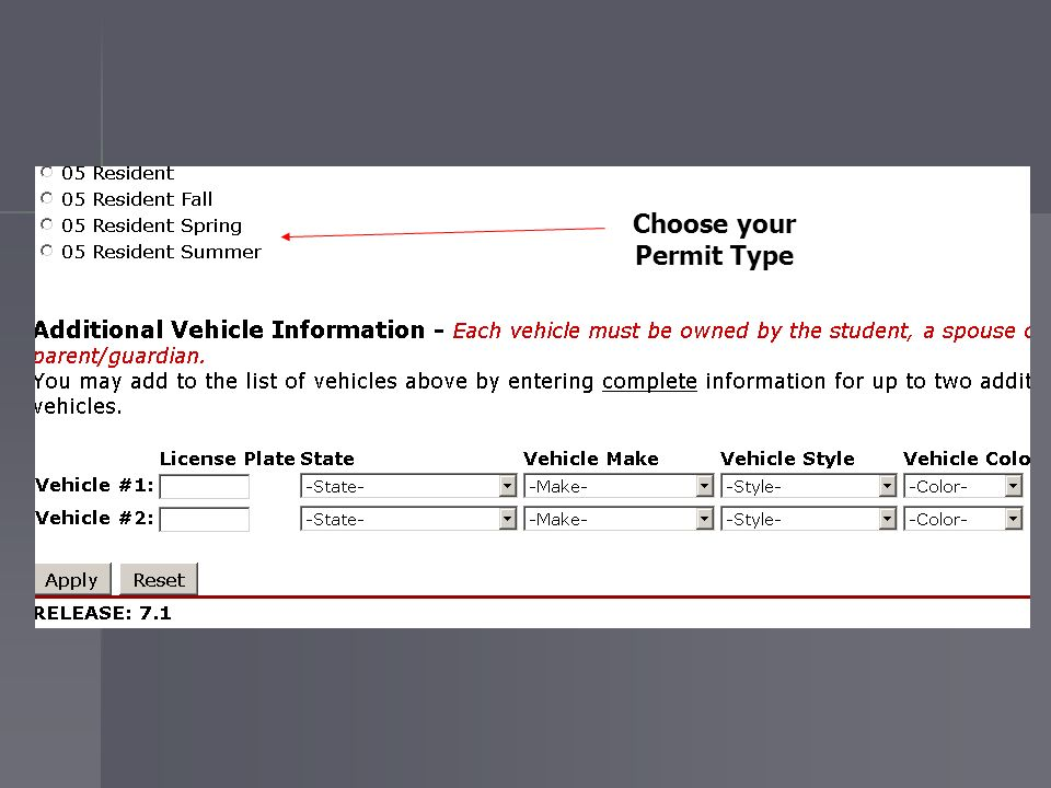 Choose your Permit Type