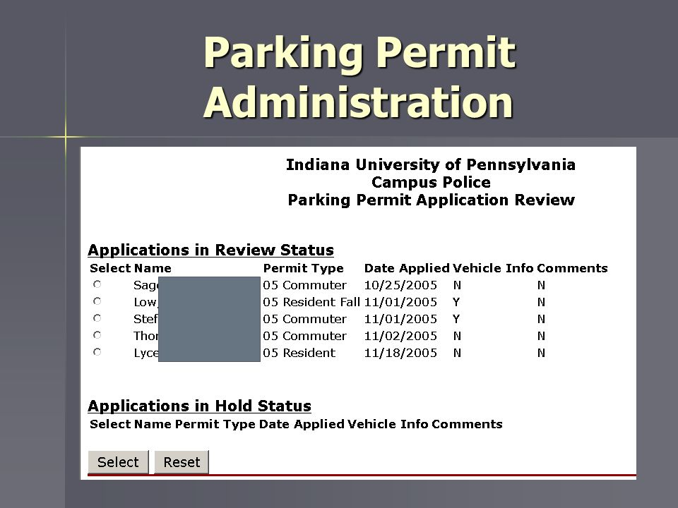 Parking Permit Administration
