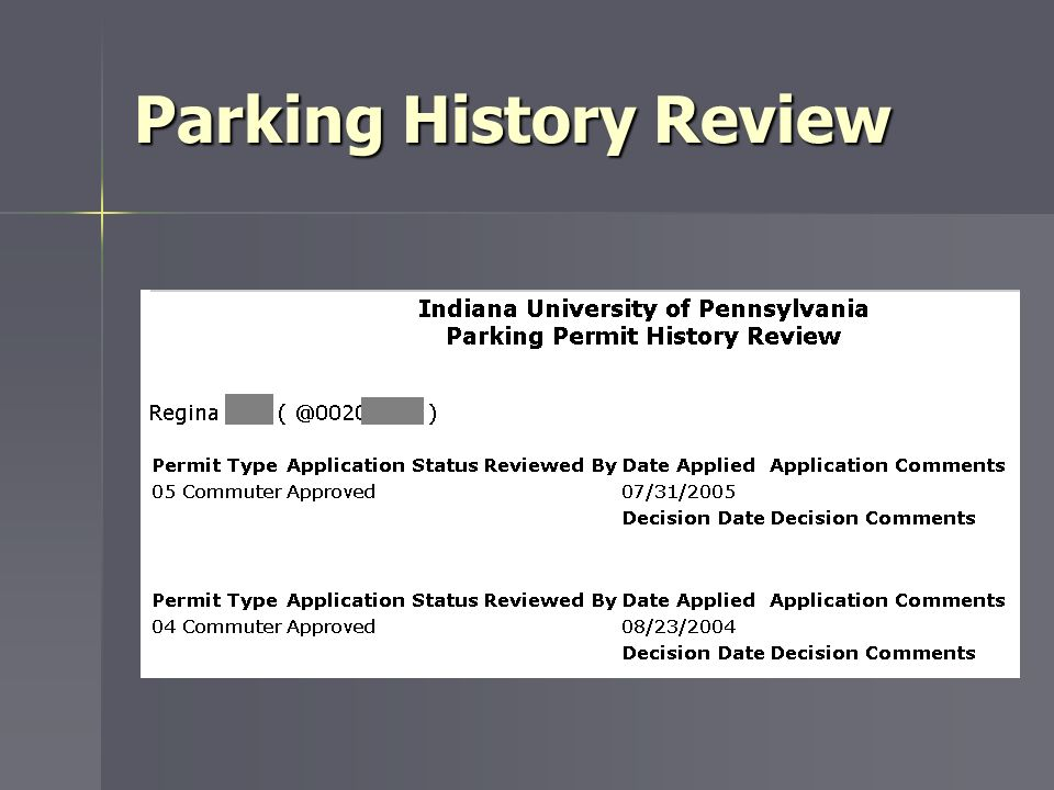 Parking History Review