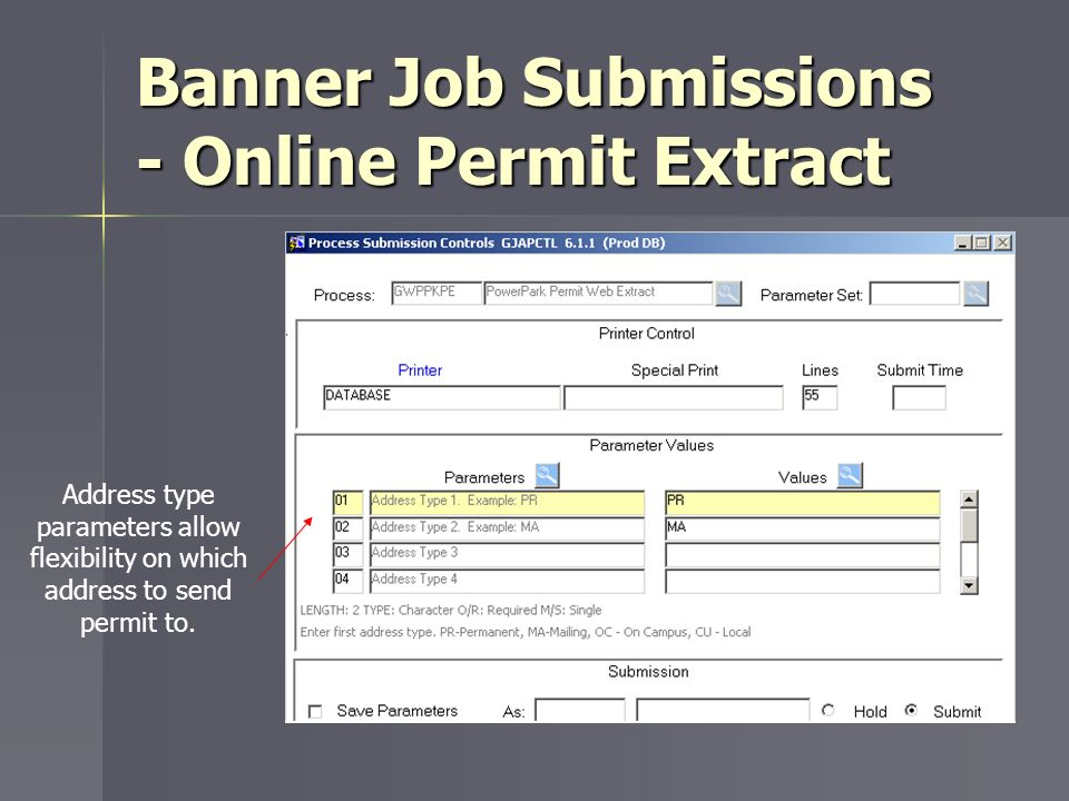 Banner Job Submissions - Online Permit Extract