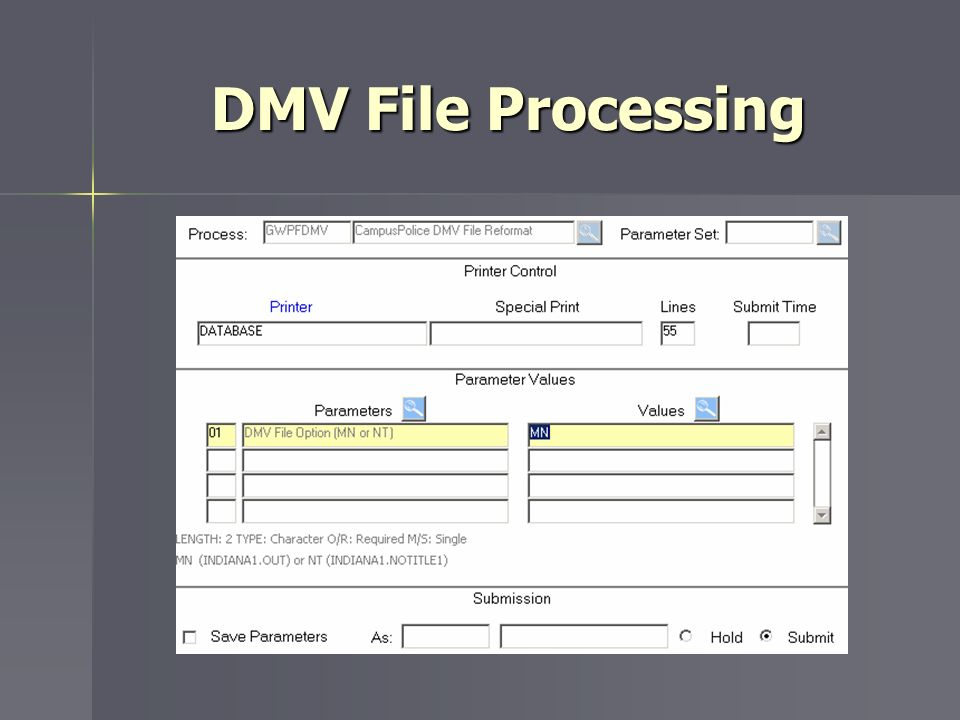 DMV File Processing MN is main file NT is no title