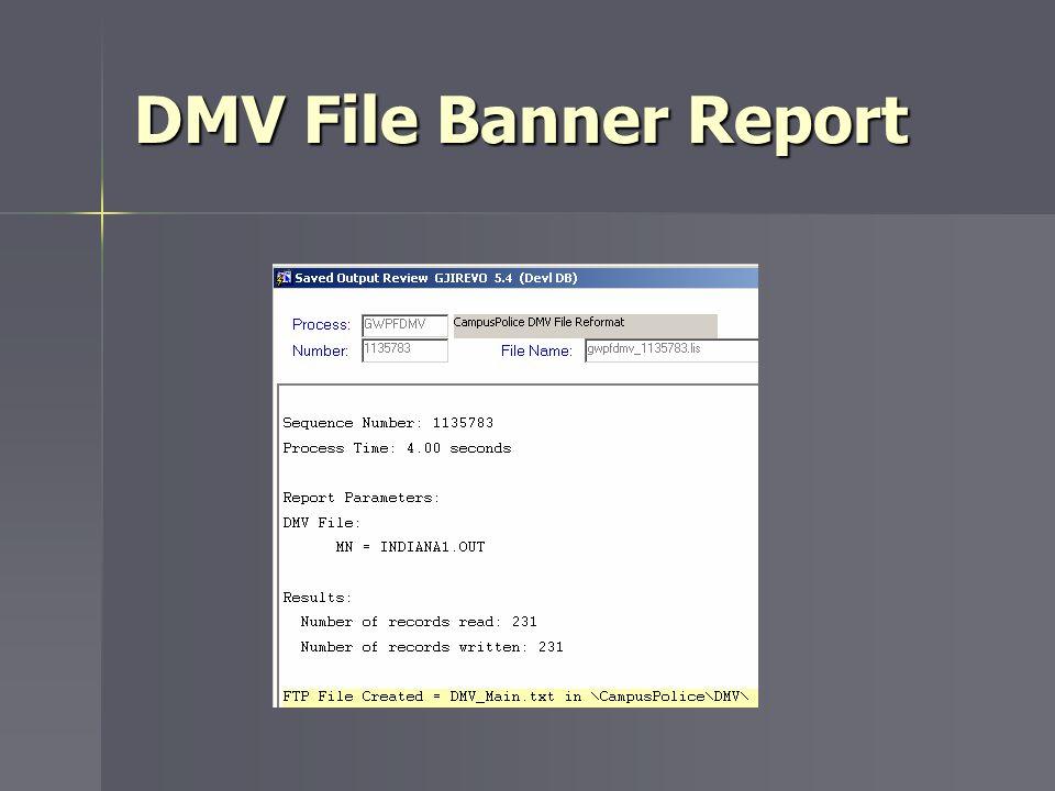 DMV File Banner Report