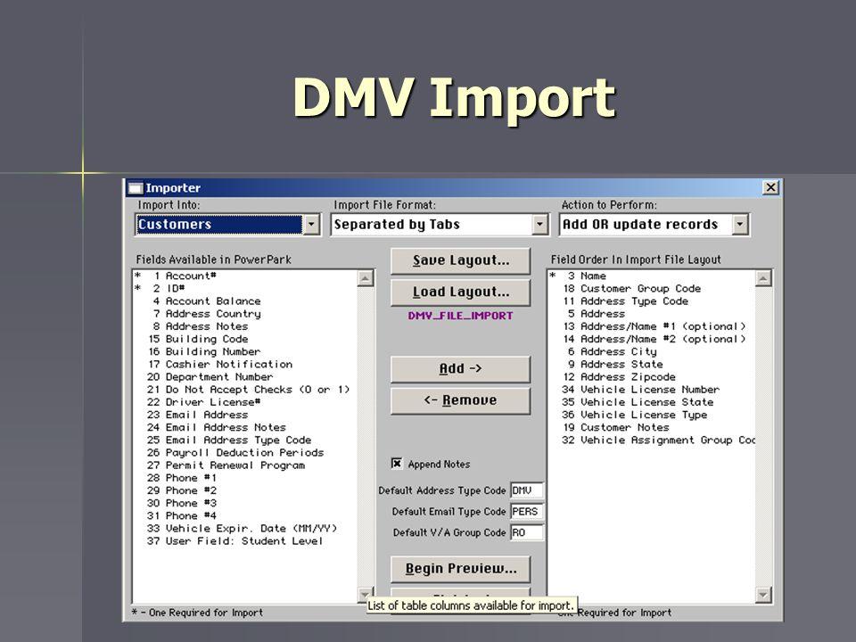 DMV Import