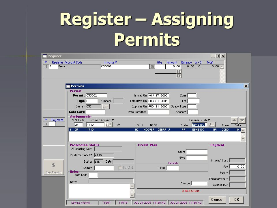 Register – Assigning Permits