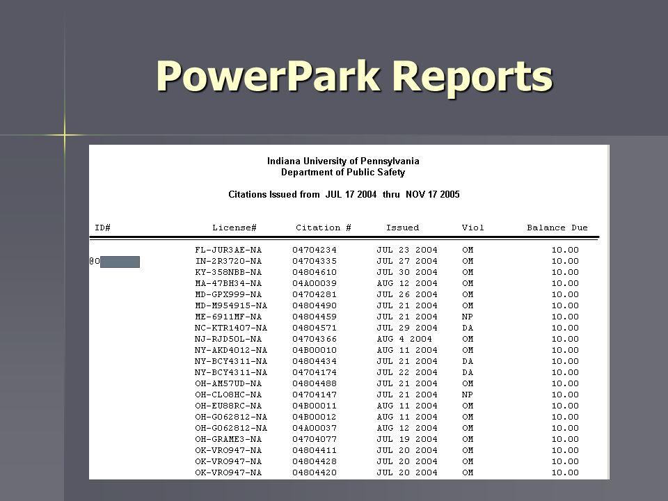 PowerPark Reports