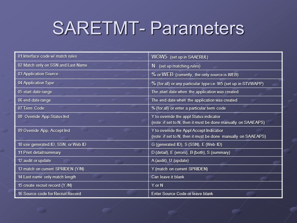 SARETMT- Parameters WGW5 (set up in SAAERUL) N (set up matching rules)
