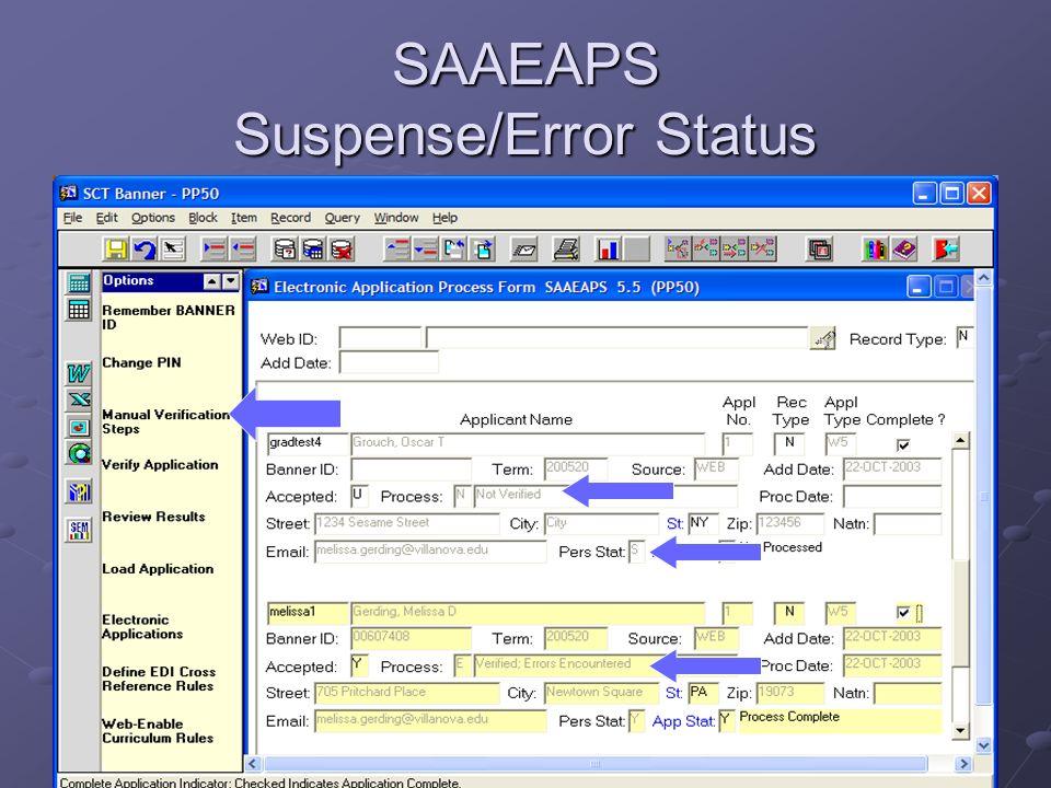 SAAEAPS Suspense/Error Status
