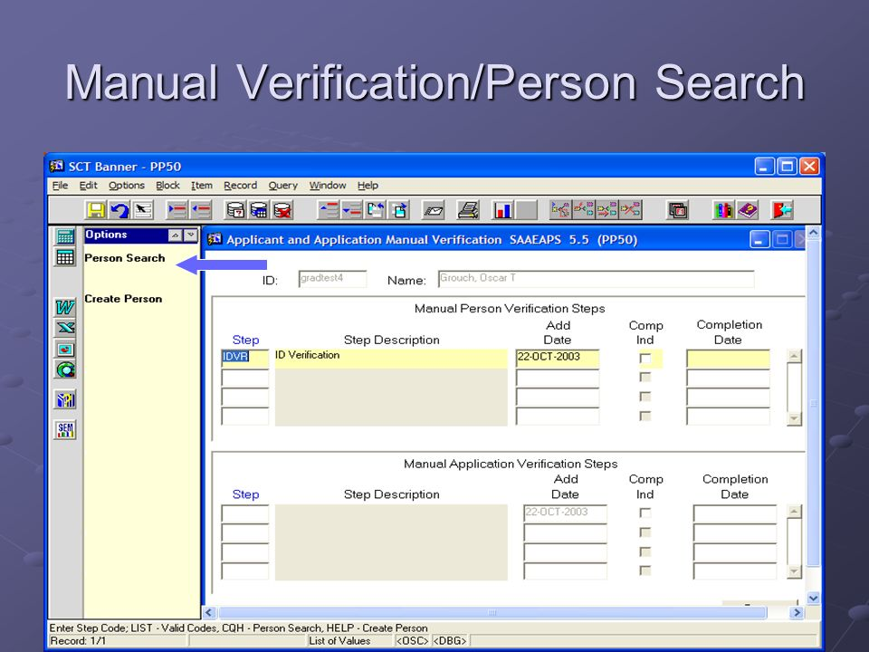Manual Verification/Person Search