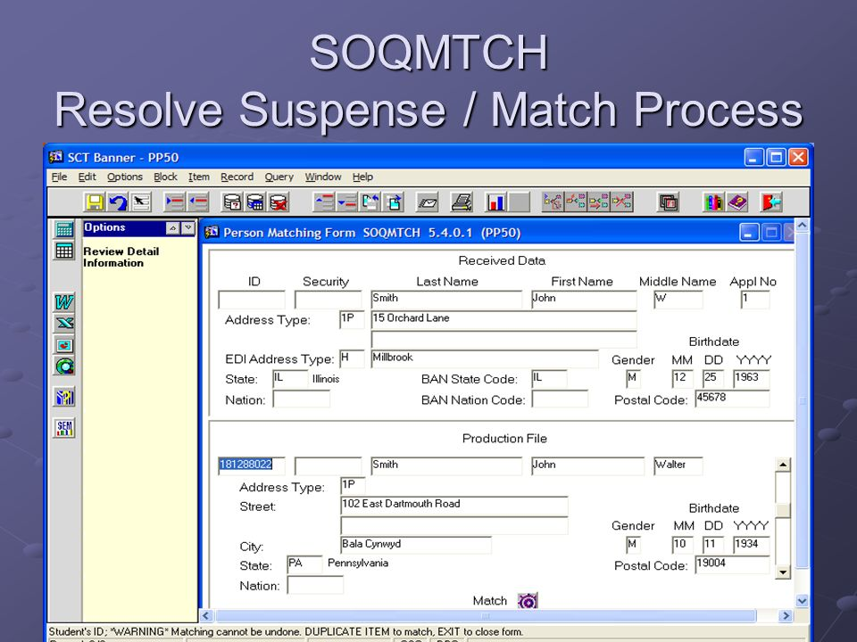 SOQMTCH Resolve Suspense / Match Process