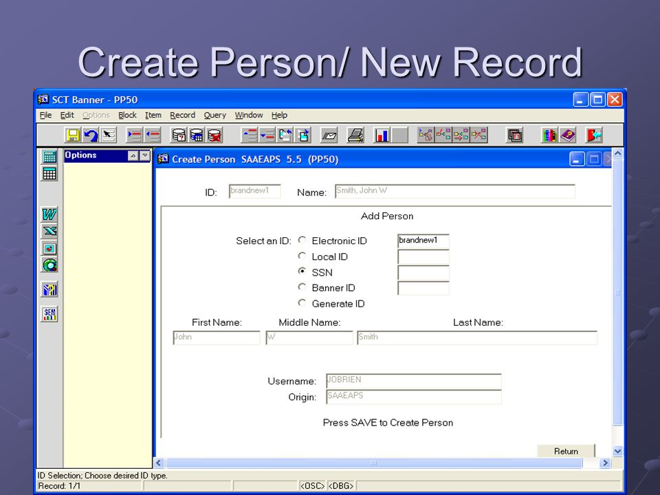 Create Person/ New Record
