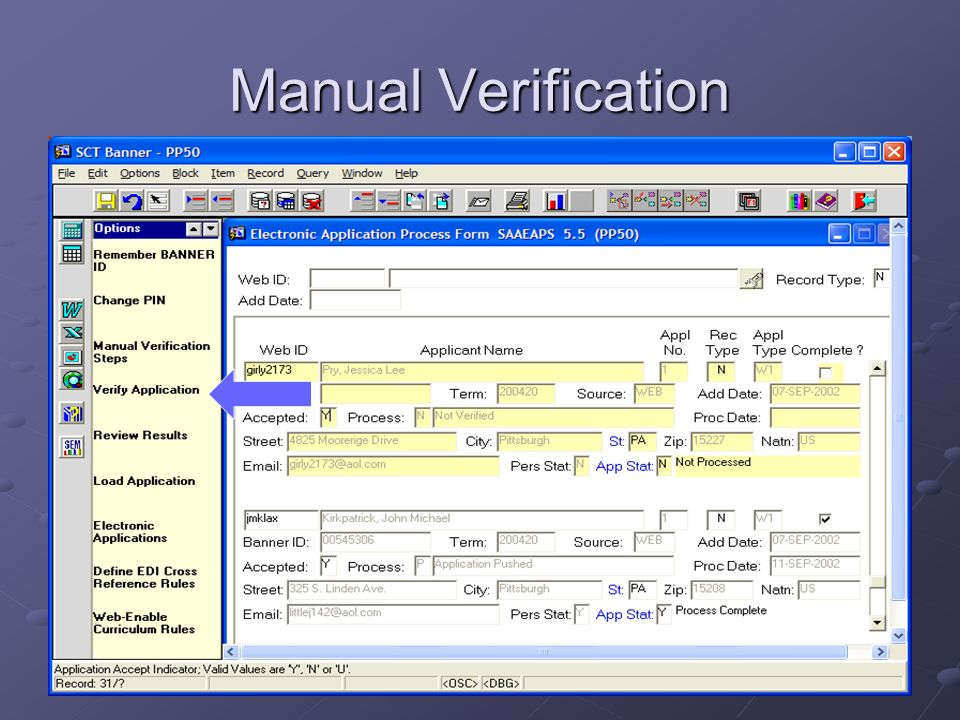 Manual Verification