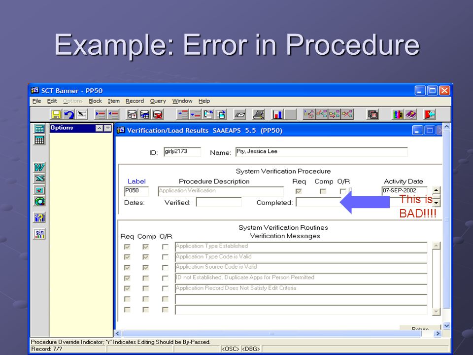 Example: Error in Procedure