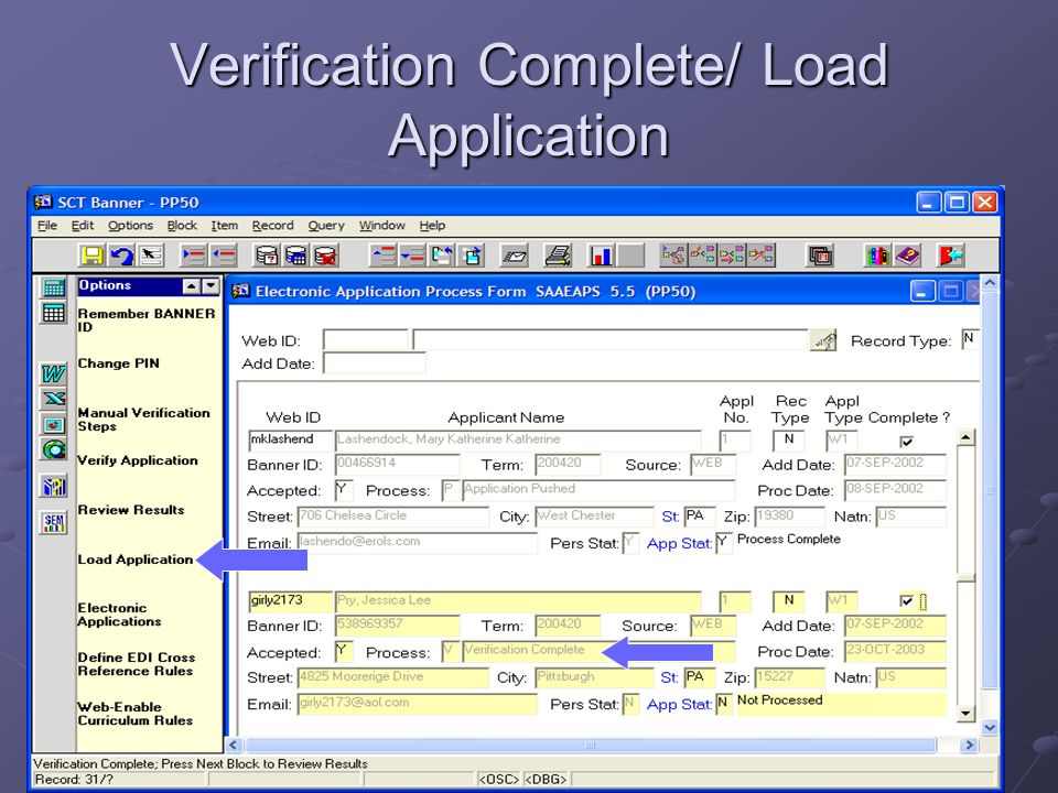 Verification Complete/ Load Application
