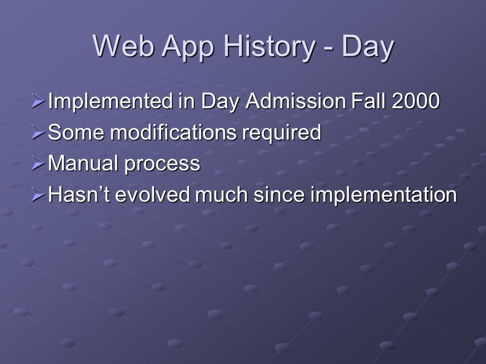 Web App History - Day Implemented in Day Admission Fall 2000