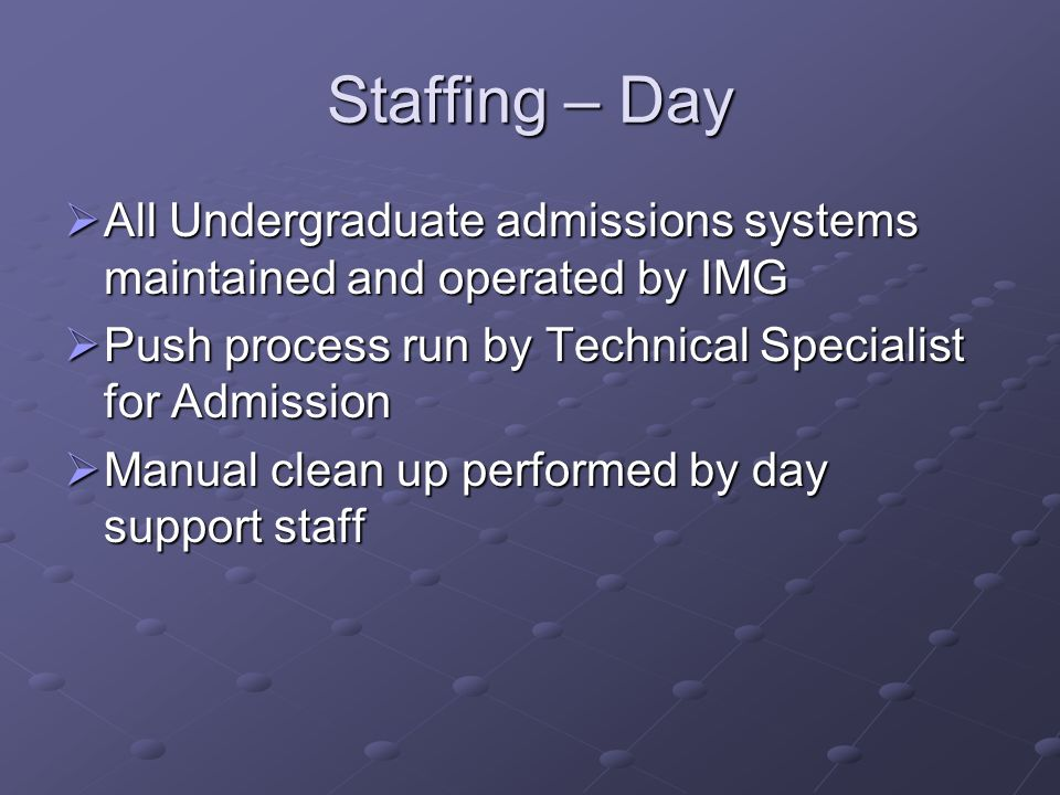Staffing – Day All Undergraduate admissions systems maintained and operated by IMG. Push process run by Technical Specialist for Admission.