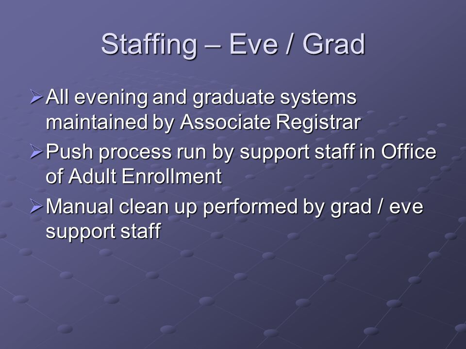 Staffing – Eve / Grad All evening and graduate systems maintained by Associate Registrar.