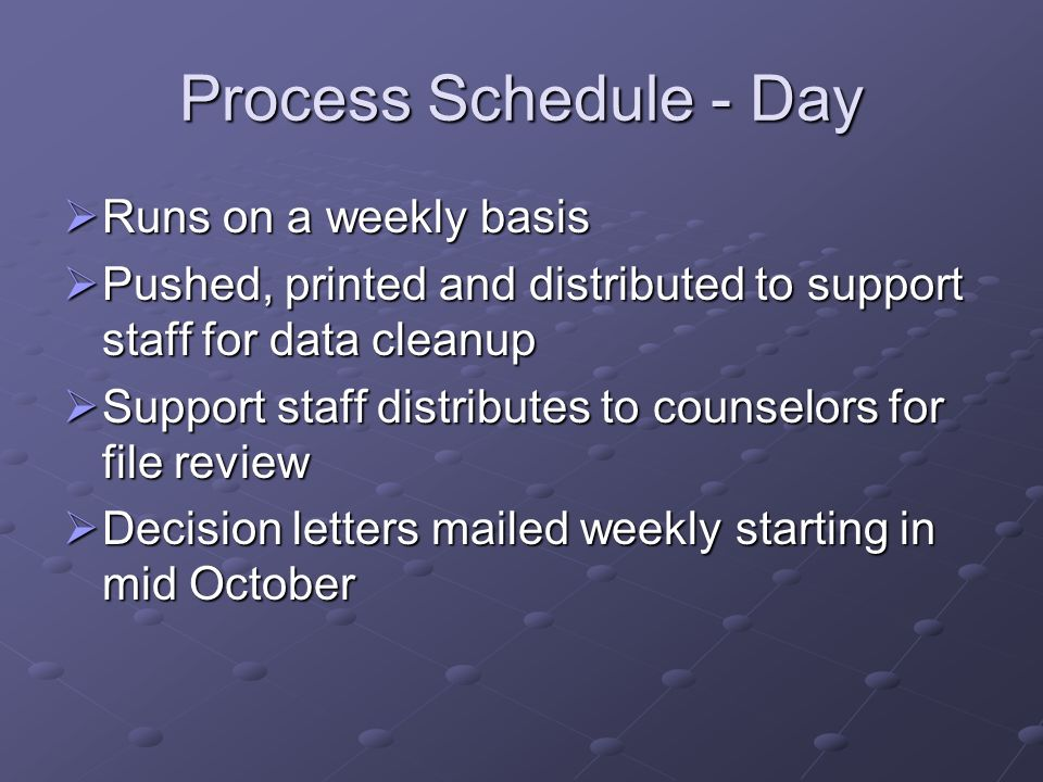 Process Schedule - Day Runs on a weekly basis