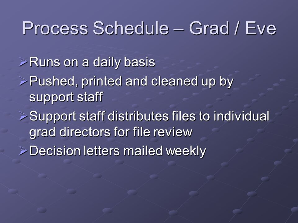 Process Schedule – Grad / Eve