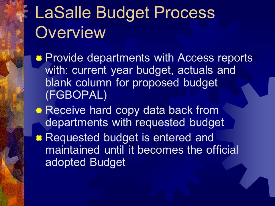 LaSalle Budget Process Overview