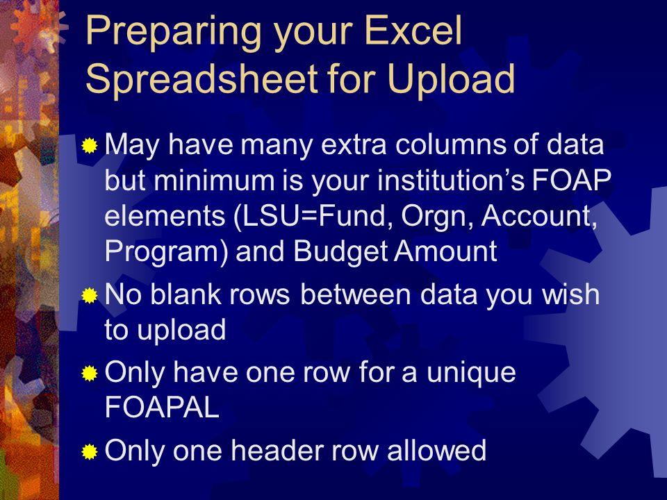 Preparing your Excel Spreadsheet for Upload