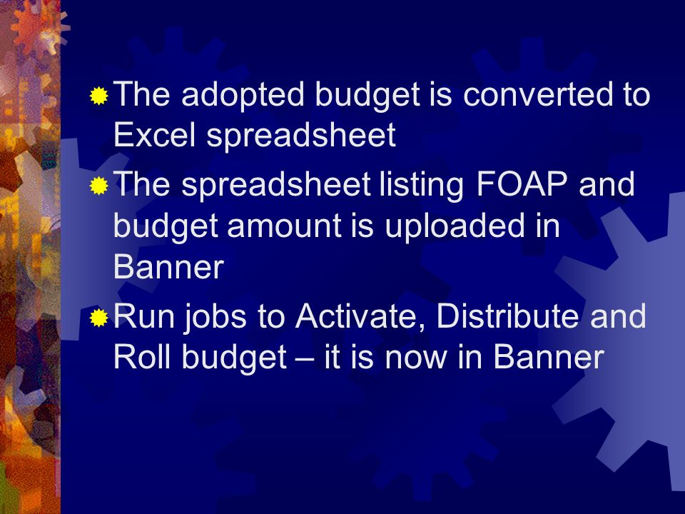 The adopted budget is converted to Excel spreadsheet