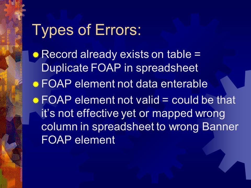 Types of Errors: Record already exists on table = Duplicate FOAP in spreadsheet. FOAP element not data enterable.