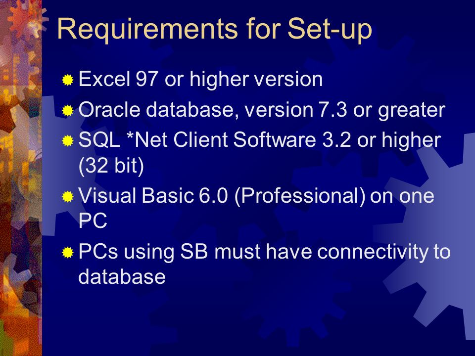 Requirements for Set-up