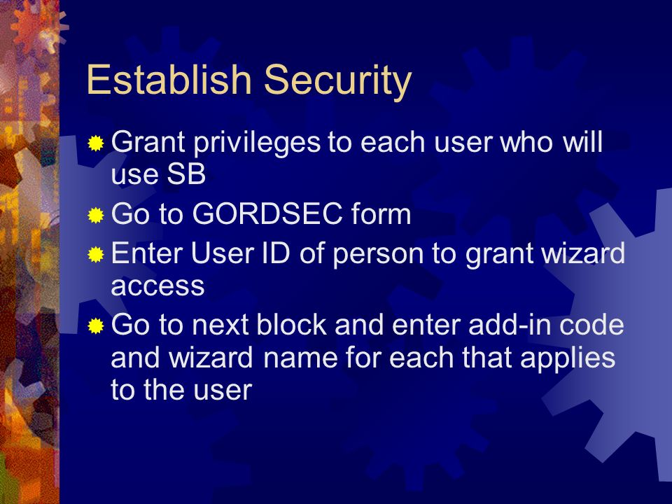 Establish Security Grant privileges to each user who will use SB