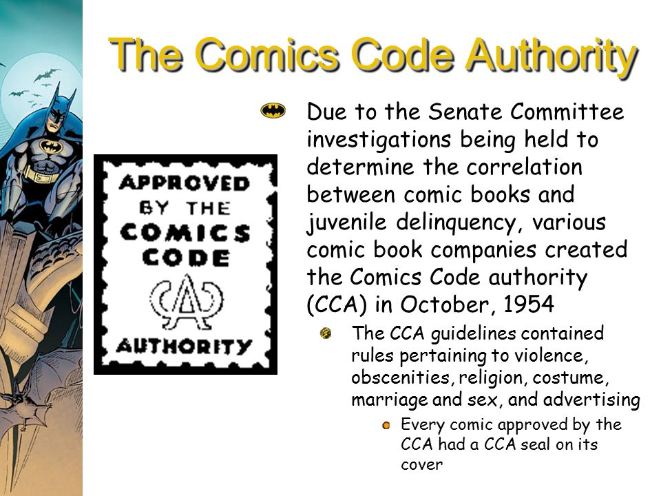 """comics code authority essay An in depth look at the untold stories behind the comics code authority hello, and welcome to a project we are calling the """"death of the comics code"""" thank you for checking out our page."""