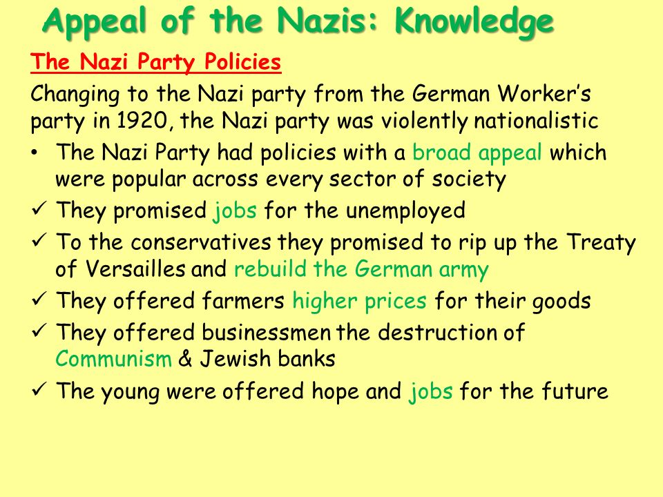 """appeal of the nazi party history essay Ballantine books, 158 pp, $295 (paper)  it takes a certain originality to  describe the nazi era as """"germany's blighted and  german woman"""" (as hitler  called riefenstahl), vanquishing the slights of history, all smiles  to an  unsophisticated public in germany, the appeal of nazi art may have been that it."""
