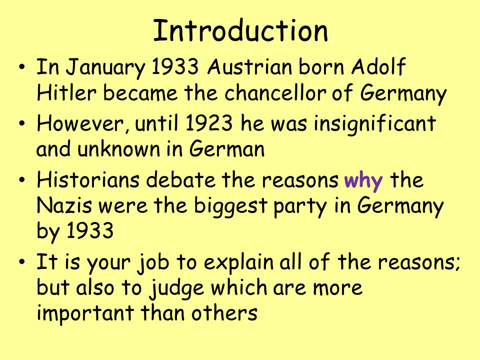 why did hitler become chancellor january 1933 The fact that hitler became chancellor in 1933 was a big advantage for the nazi party because this helped them to gain back the votes they have lost since november 1932.