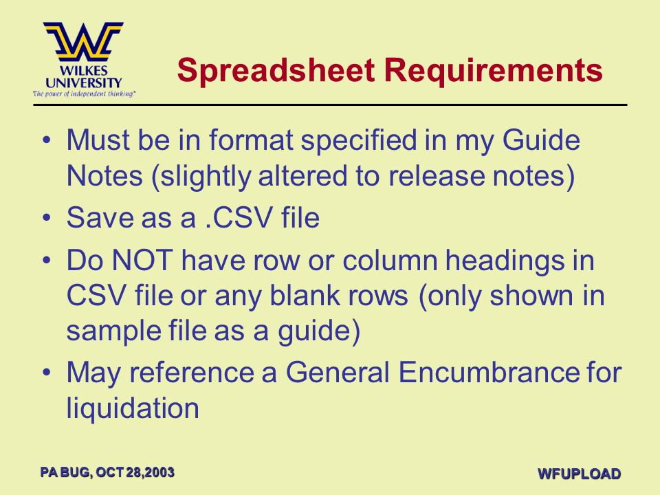 Spreadsheet Requirements