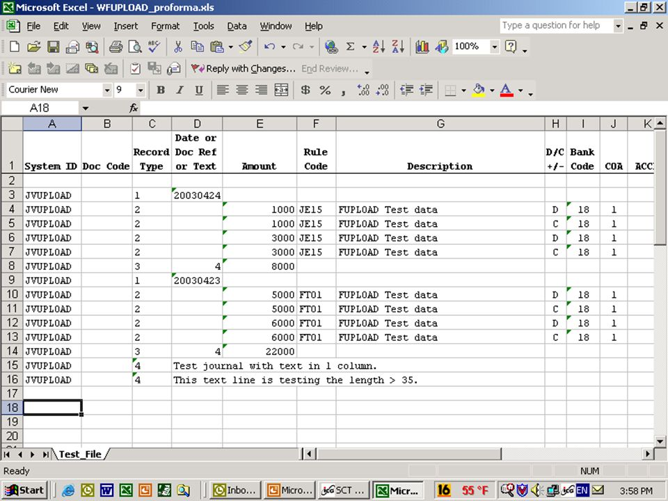 Processing WFUPLOAD Our first step is to create the Excel Spreadsheet.