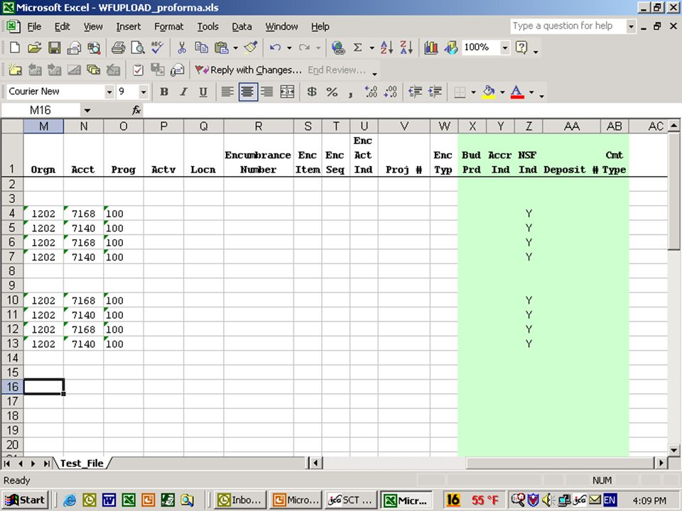 Processing WFUPLOAD The second half of the columns in the spreadsheet…