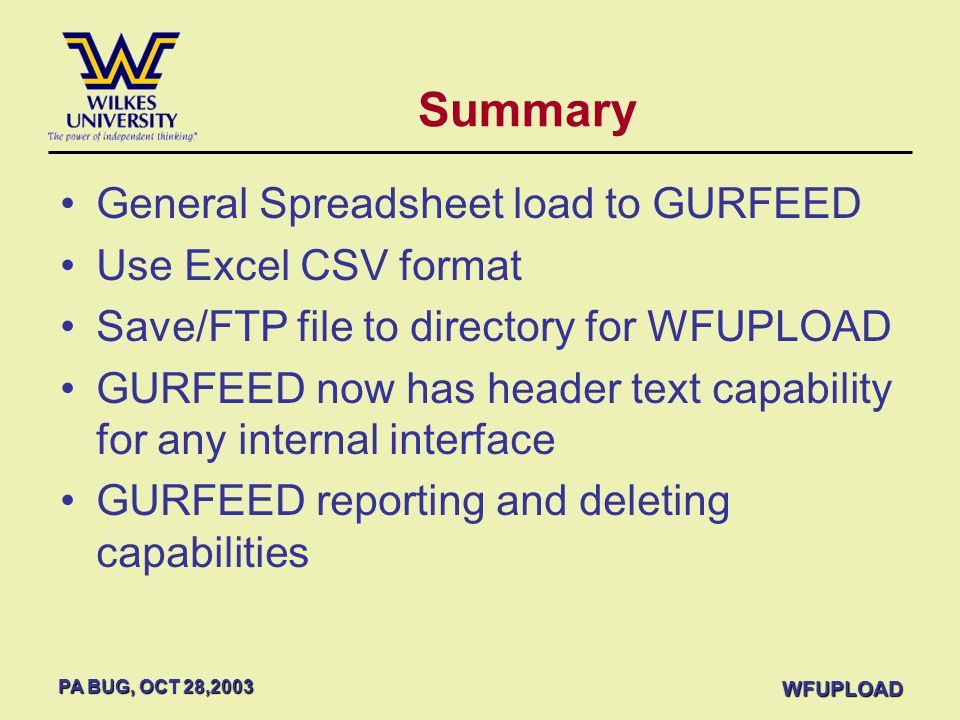 Summary General Spreadsheet load to GURFEED Use Excel CSV format