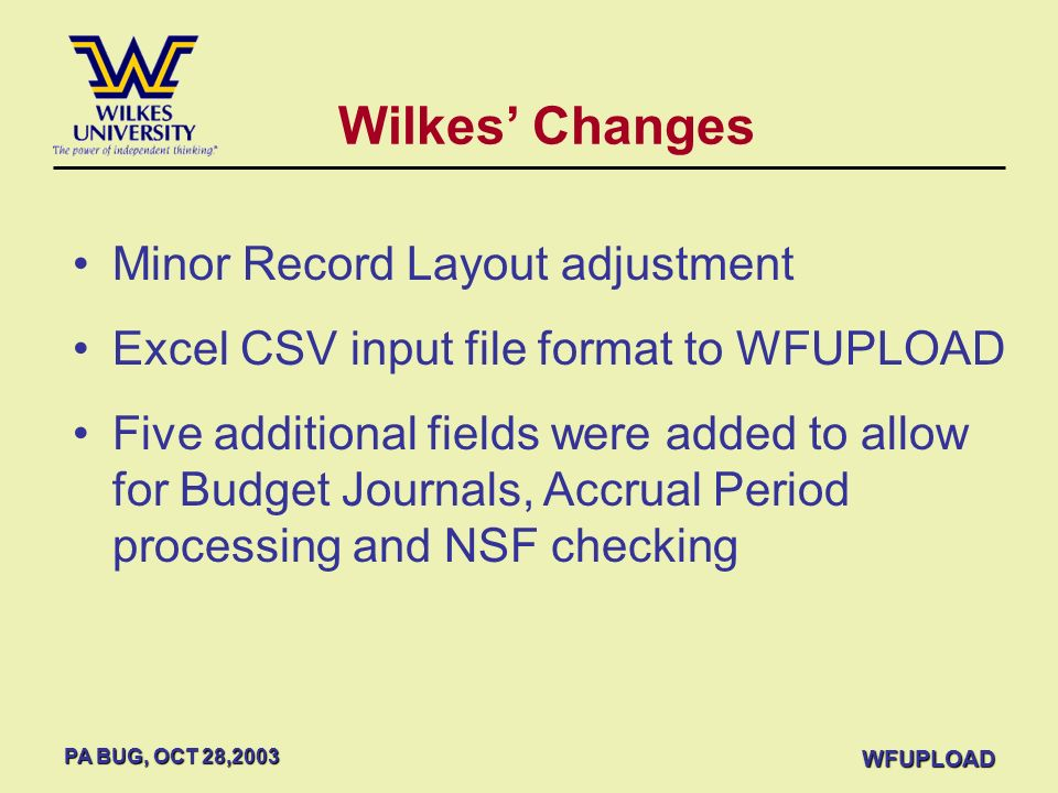 Wilkes' Changes Minor Record Layout adjustment