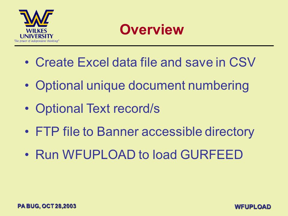Overview Create Excel data file and save in CSV