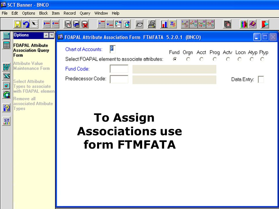 To Assign Associations use form FTMFATA