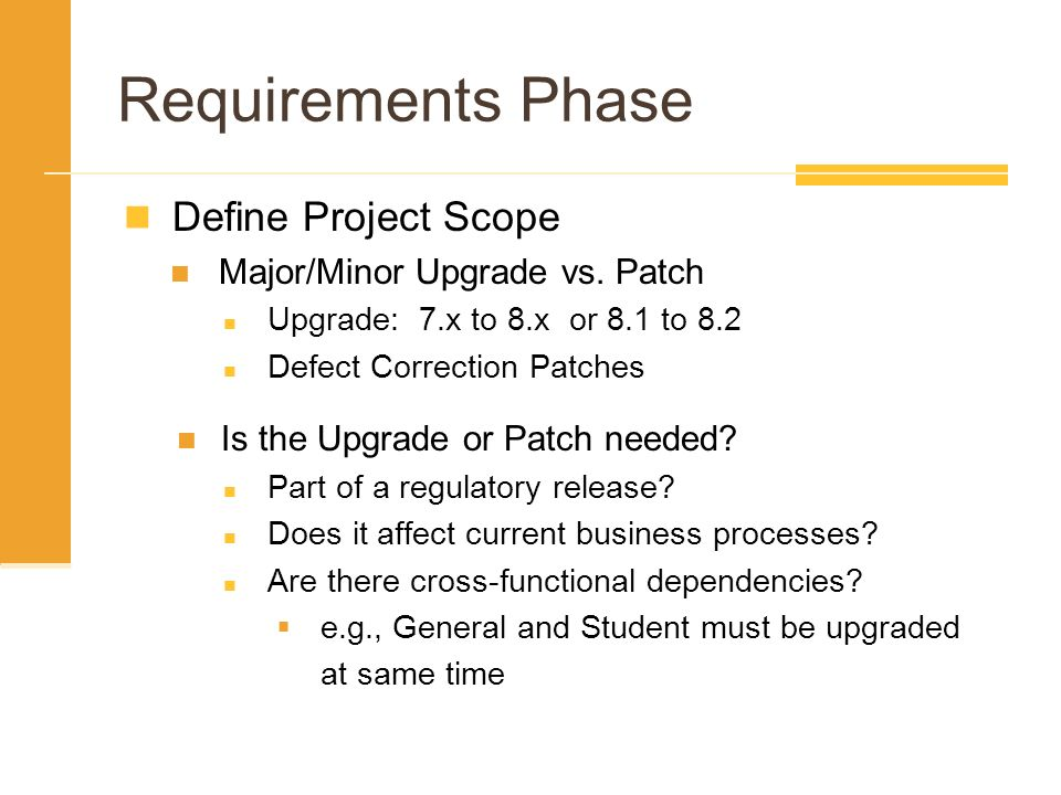 Requirements Phase Define Project Scope Major/Minor Upgrade vs. Patch