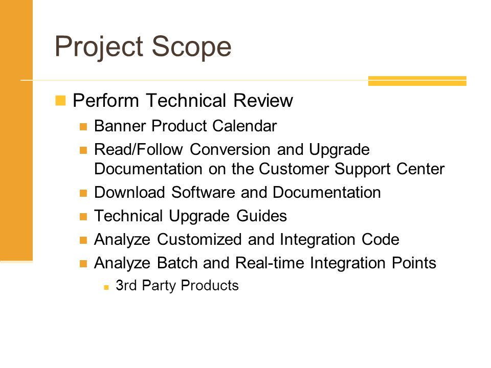 Project Scope Perform Technical Review Banner Product Calendar