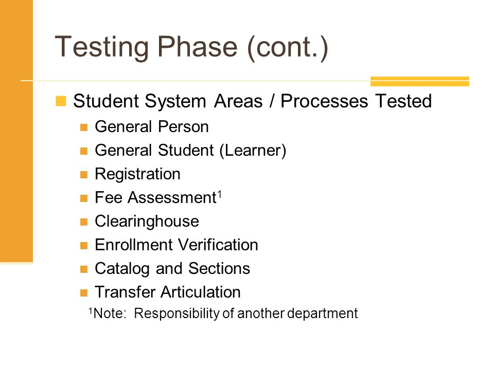 Testing Phase (cont.) Student System Areas / Processes Tested