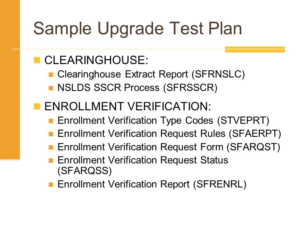 Sample Upgrade Test Plan